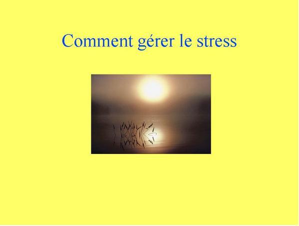 compte rendu conférence; comment gérer le stress