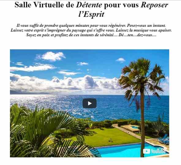 Salle virtuelle de détente en ligne